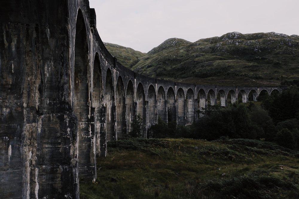 The Jacobite Steam Train viaduct, aka Harry Potter train tracks, overlooking Glenfinnan & Loch Shiel.