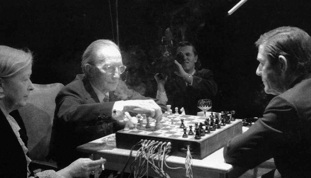 John Cage & Marcel Duchamp playing chess on March 5th, 1968 at Ryerson Theatre in Toronto.