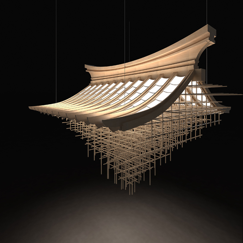 "Wang, Shixue. ""Disappearing Great Roof."" Designboom, LG Display OLED Design Competition 2016, 21 Nov. 2016, www.designboom.com/project/disappearing-great-roof/. by Liang ChenWang ShixueZhang YongqiangZhang Meng from korea   The lighting installation is implemented with traditional Chinese architecture. The designer creatively uses LED lights to represent roof tiles which greatly emphasis the nucleus of the idea of the great roof. The repetitive linear sticks compose an interesting structure. It makes me imagine a construction site, and it is repairing, building or rescuing the disappearing great roof."