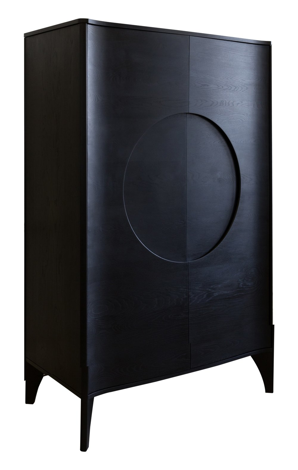 "NESTEDNY. ""Noah Drinks Cabinet."" Dering Hall, NESTEDNY, 2018, deringhall.com/noah-drinks-cabinet.   The indent area reminds me the traditional Chinese bronze door latches. Historically, circular latch plates are often used on cabinet doors like this. The central circular indent has angle edge all the way around, which simply functions as door handle. The door curls with a small angle which infuses some playfulness to this design. Additionally, blackened solid wood provides very graphic and contemporary look to the surface. These interesting and subtle details make the cabinet stands out."
