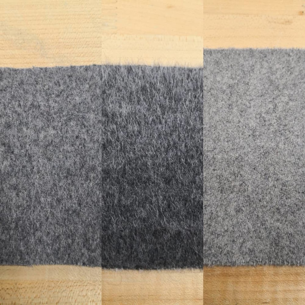 Felt samples for seat upolstery