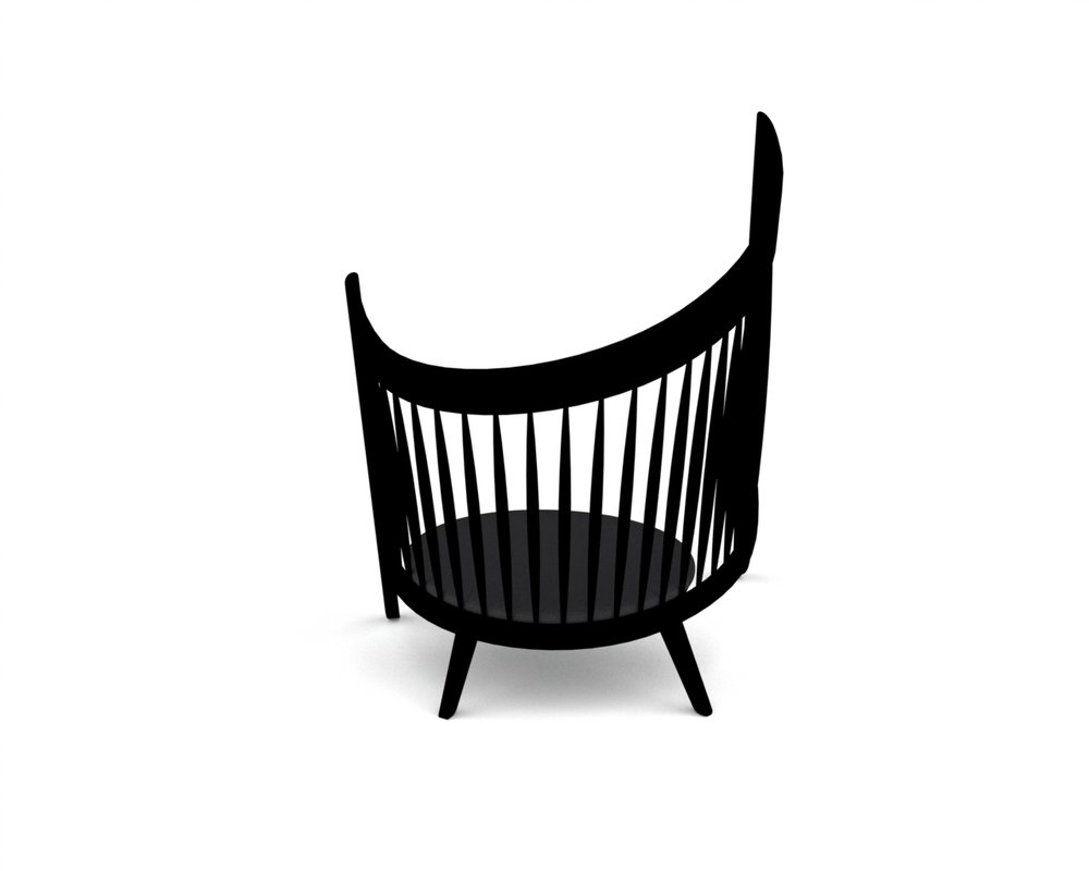 Rendered chair image with dark grey seat
