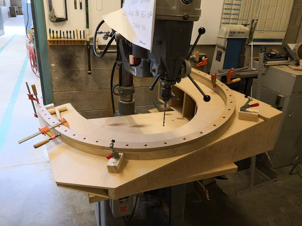 Drill spindle holes on final head rest mockup