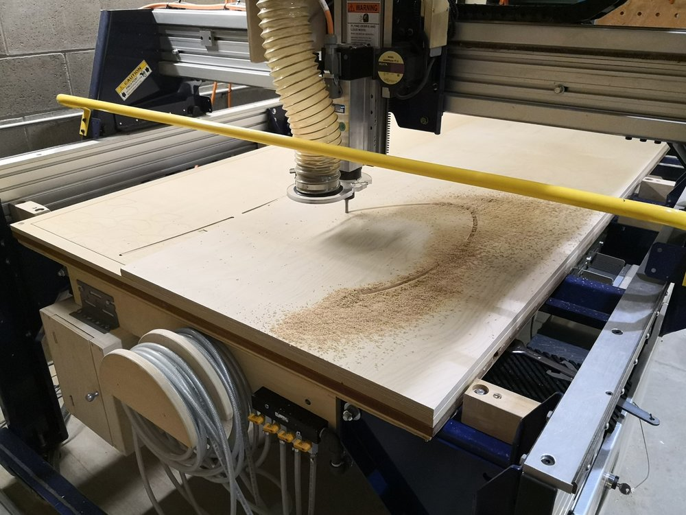 Cutting plywood seat frame with CNC router