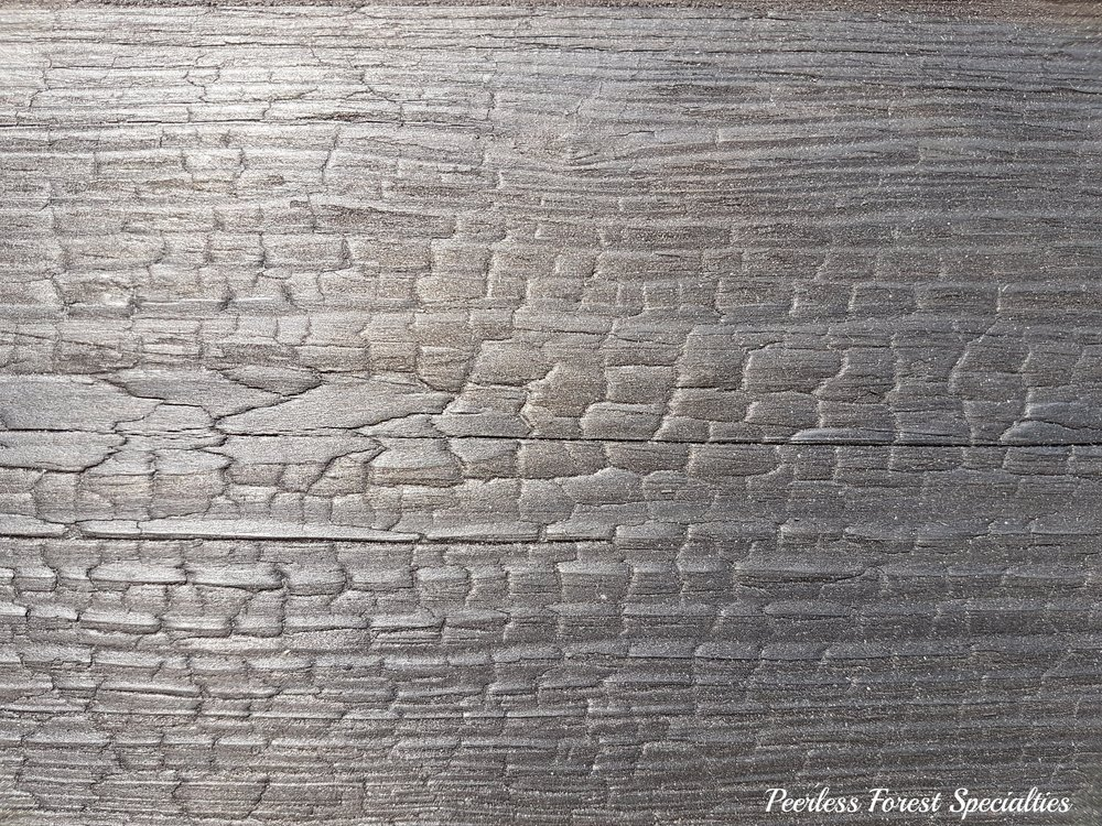 "Canadian Shou Sugi Ban Pine 1""x 6"" Fully charred and sealed, Dragon Wood pattern."