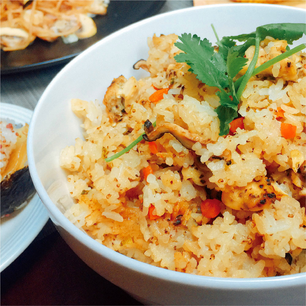 薑汁紅藜雞肉野菇炊飯