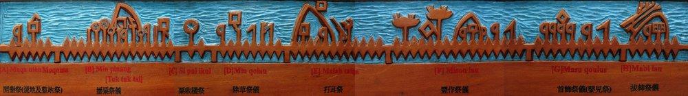 布農族木刻祭典年曆,藏於南投縣信義鄉同富國中文物館,上面記錄了布農族的重要祭儀與農獵時間。( 出處 )