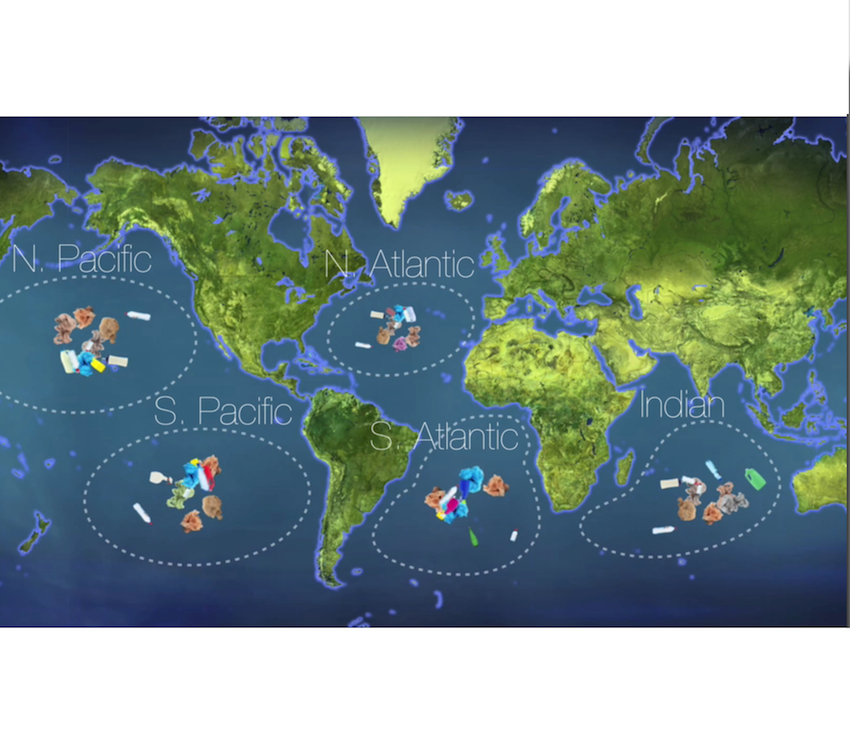 """The 5 subtropical Gyres. Image credit: https://www.5gyres.org/faq/   Have you heard of the Great Pacific Garbage Patch? There are huge collections of litter in the ocean (mainly plastic) that are carried there by 5 subtropical Gyres (as pictured.)  The term """"patch"""" is misleading. The pieces of plastic are not all floating bottles, bags and buoys, but include tiny pieces of plastic resembling confetti, making them almost impossible to clean up."""
