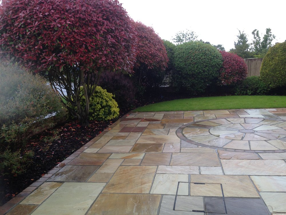 Fossil mint sandstone was used on this patio