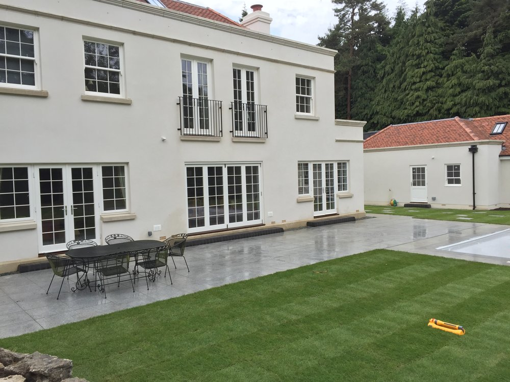 Granite paving was laid on this patio