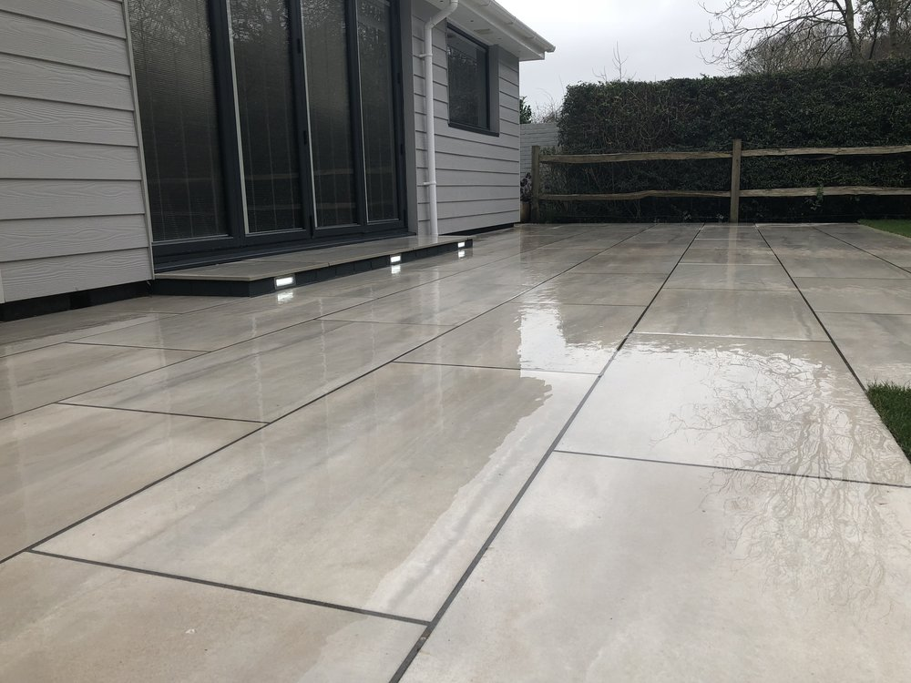 Patio installed using porcelain in Chichester