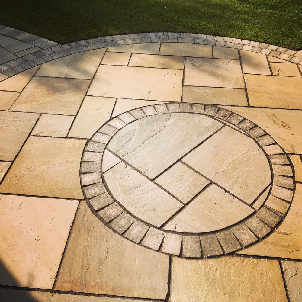 Creating a patio with Indian sandstone in Aldwick Bognor regis West Sussex