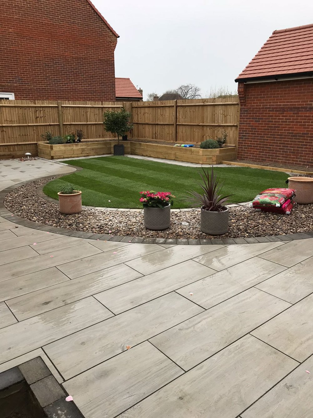 Porcelain paving used on the stunning patio in Felpham Bognor regis West Sussex