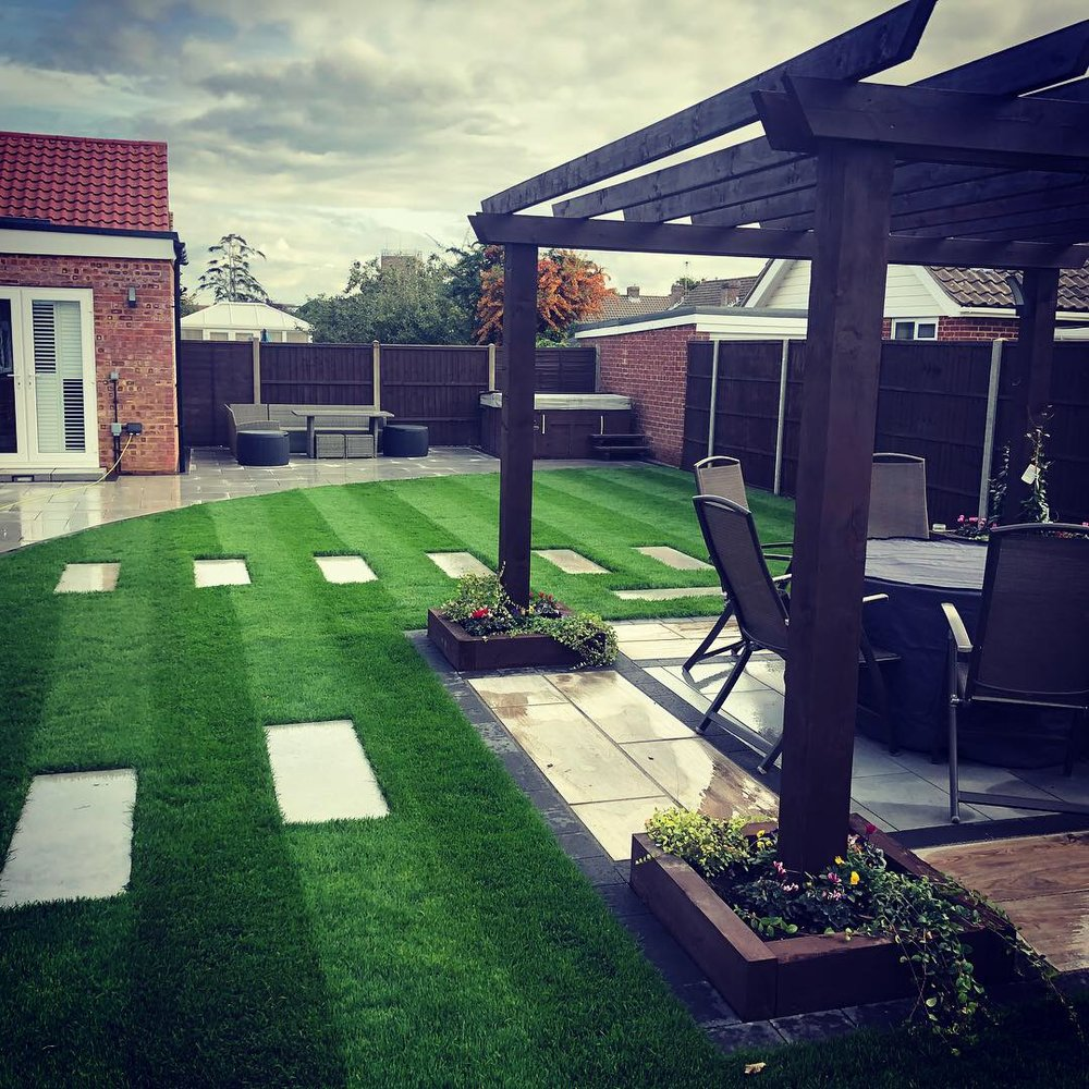 Stunning patio and pergola we installed in North Bersted in Bognor Regis using the Porcelain Paving.