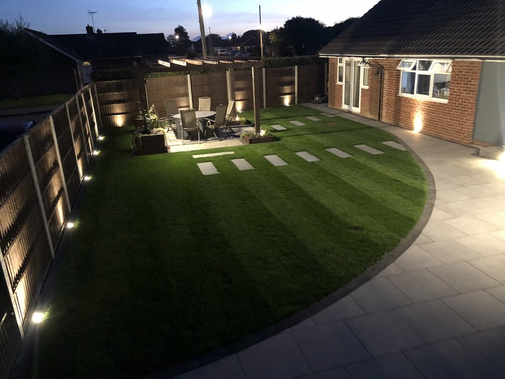 This garden we transformed in Bersted Bognor Regis is totally stunning at night with the lighting.