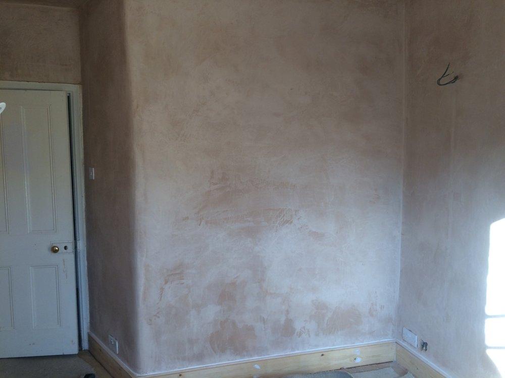 Fresh plaster before mist-coating