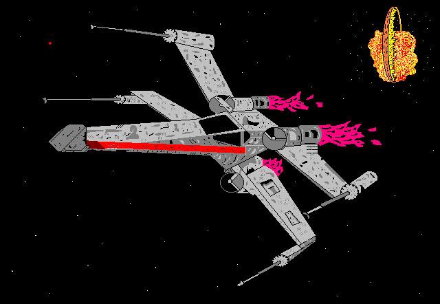 An 8-bit X-Wing flies away from an exploding Deathstar.