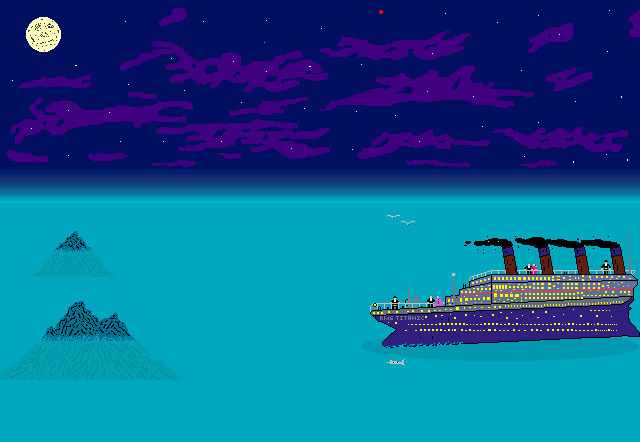 Pixel art of the Titanic as it approaches an iceberg.