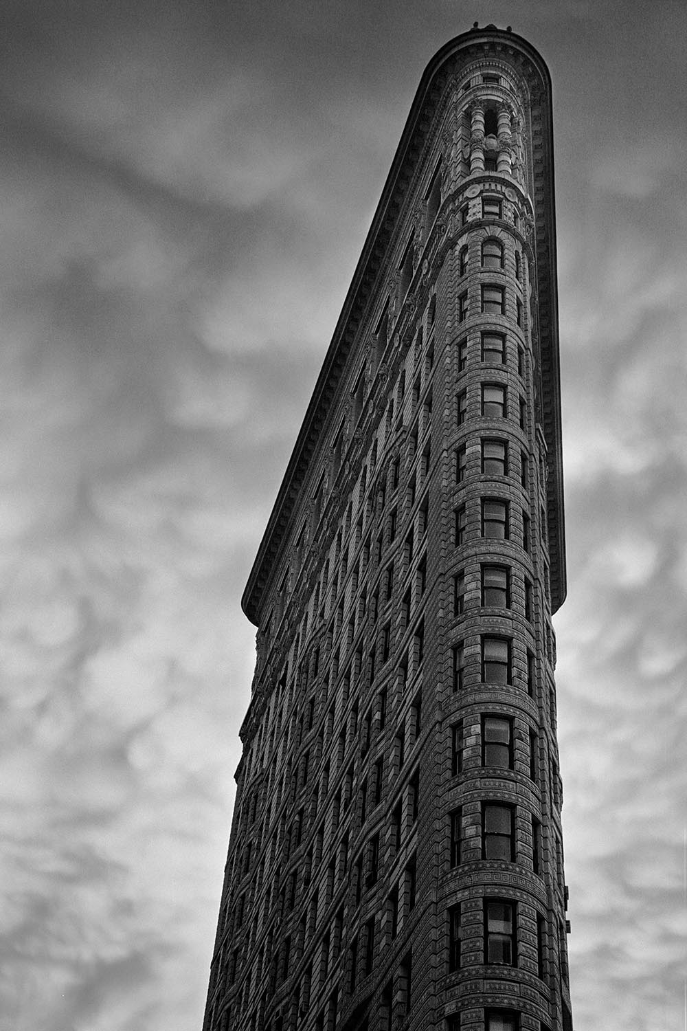 Black and white photograph of mammatus clouds behind the Flatiron Building.