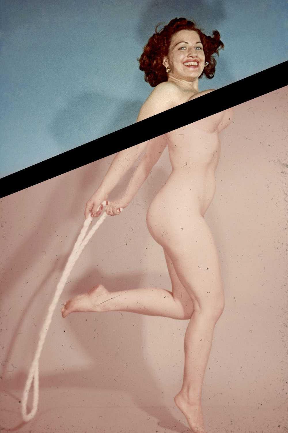 1950s-era pinup of a naked woman jumping rope.