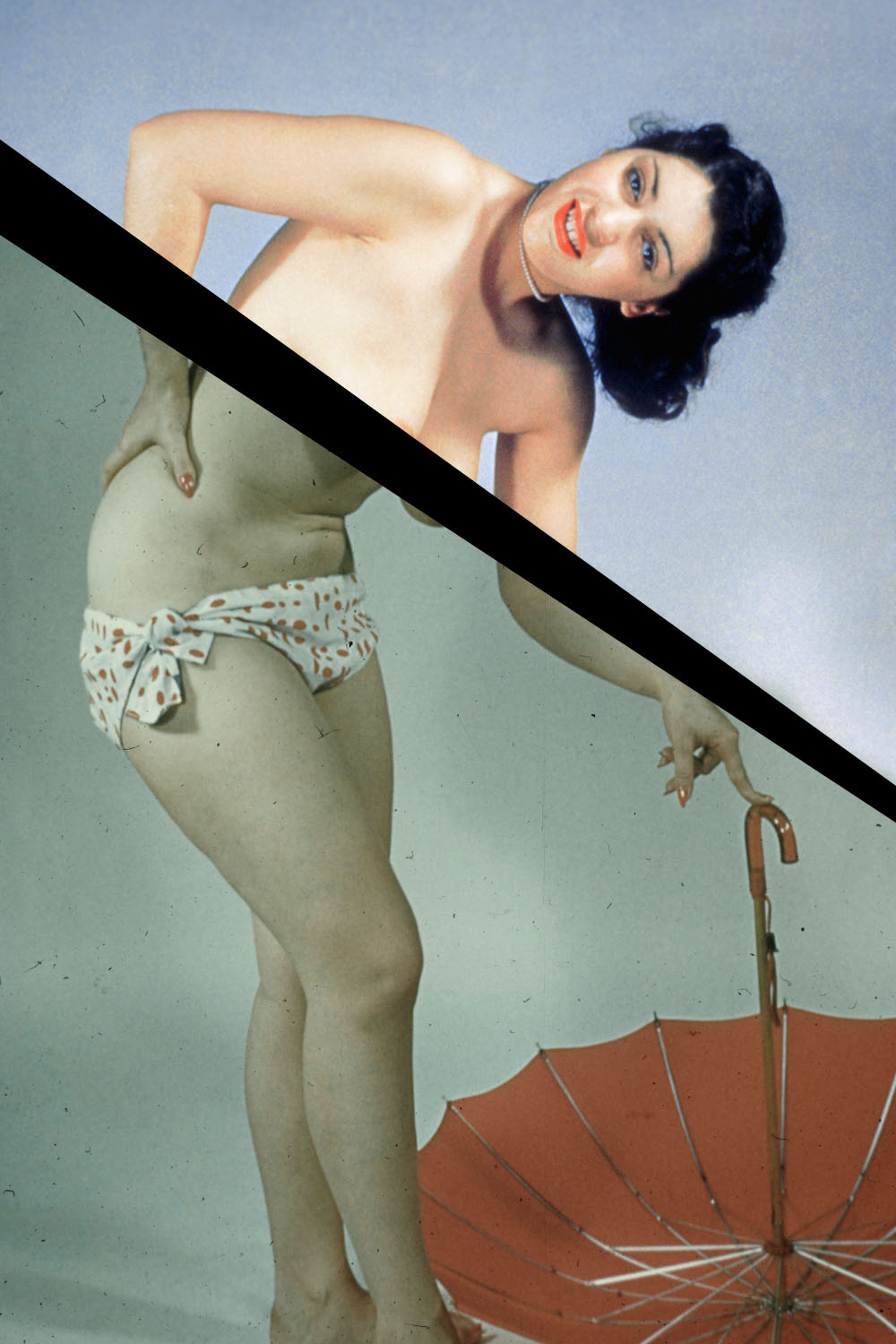 1950s-era pinup of a topless woman with a red umbrella.