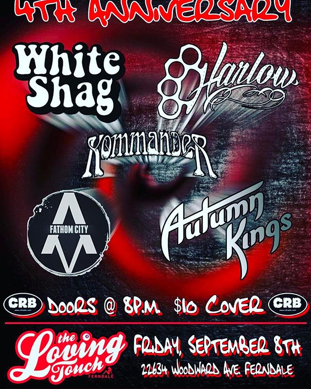 New show has been added! We'll be rocking @thelovingtouch on September 8th for a special @crb_radio Anniversary show! More details to come, so mark your calendar!  #Harlowband #supportlocal #Detroit #love #ferndale #whiteshag #Kommander #fathomcity #autumnkingsband