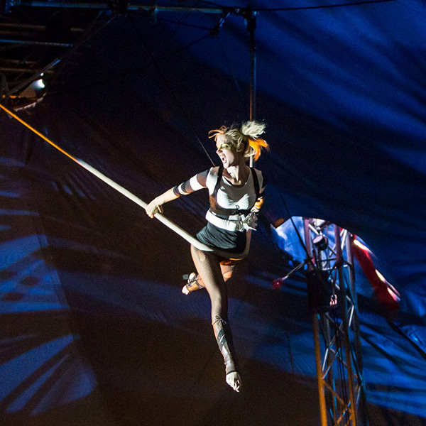 This is Imogen Macrae, her main discipline is cloud swing and is also an all-round amazing aerialist and character performer