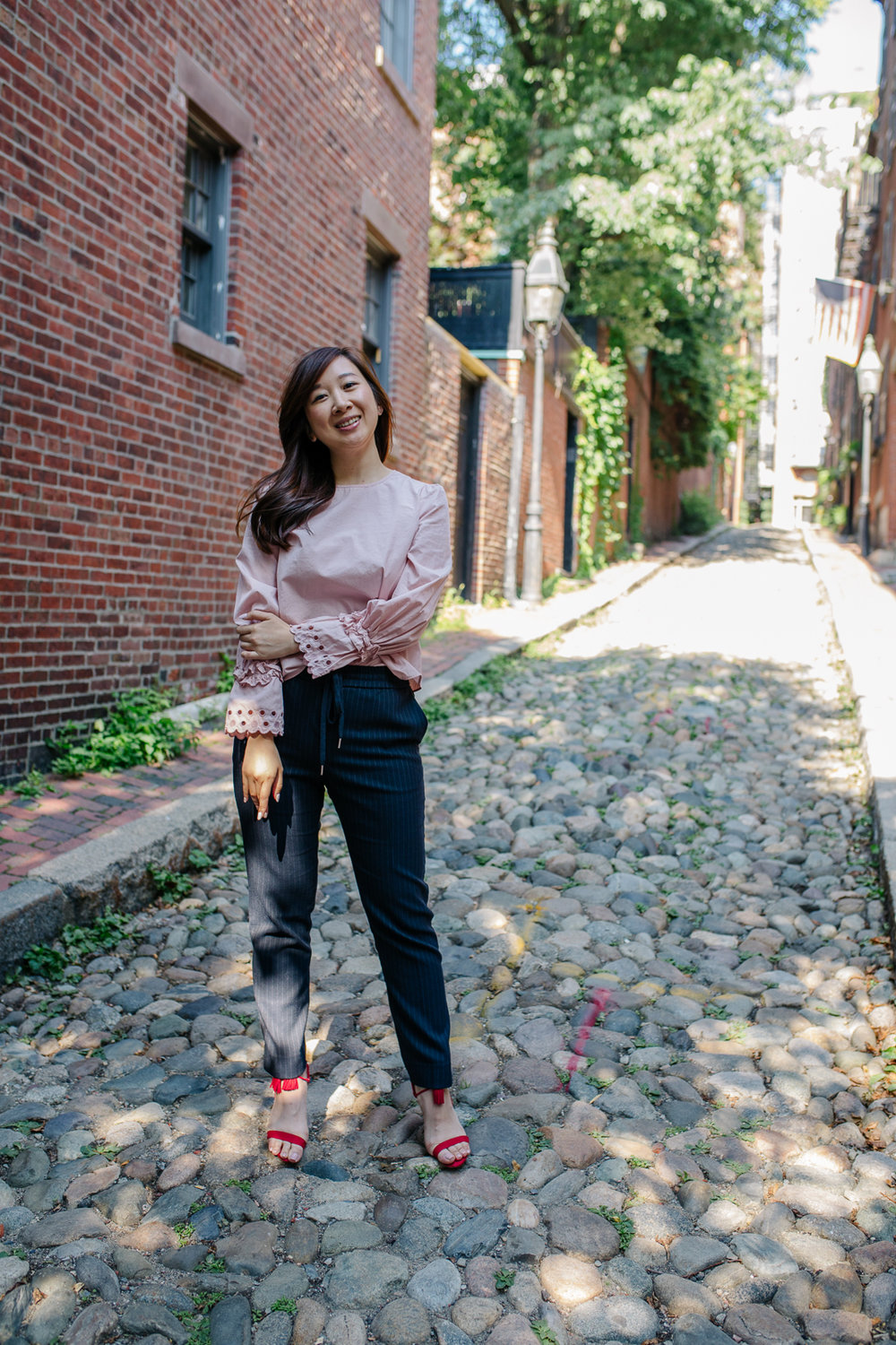 Street style shot on Acorn Street. Photo by Brad Bahner.