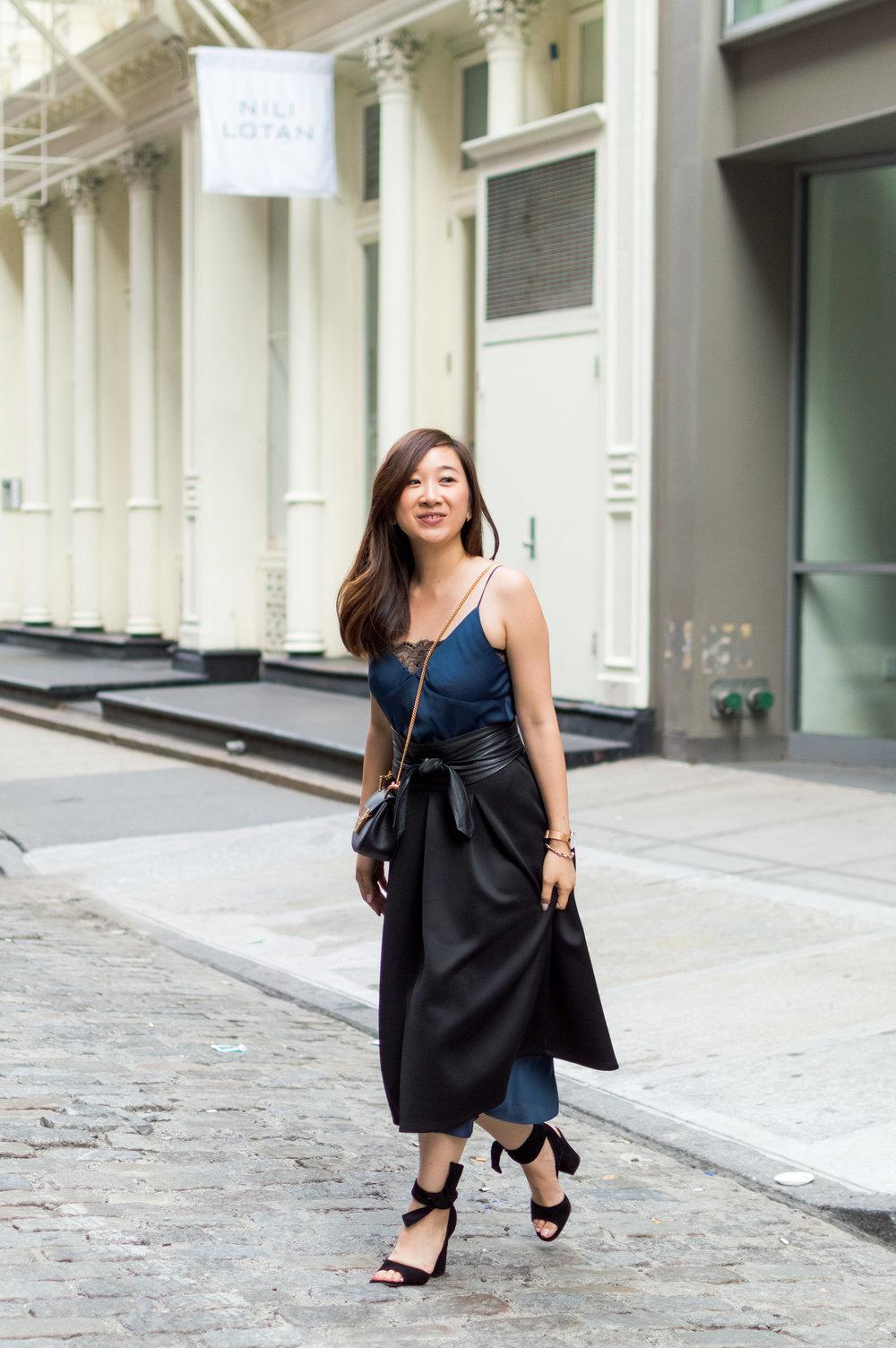 Midi skirt: Similar here; Bag: Chloe; Shoes: Gianvito Rossi.
