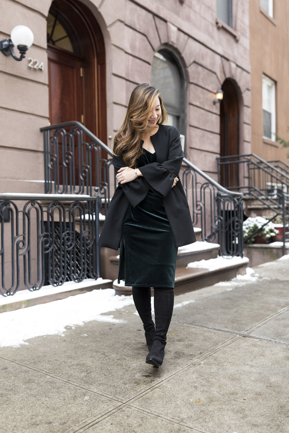 Winter Style No. 2 - Velvet Cami Dress with Over-the-knee Boots