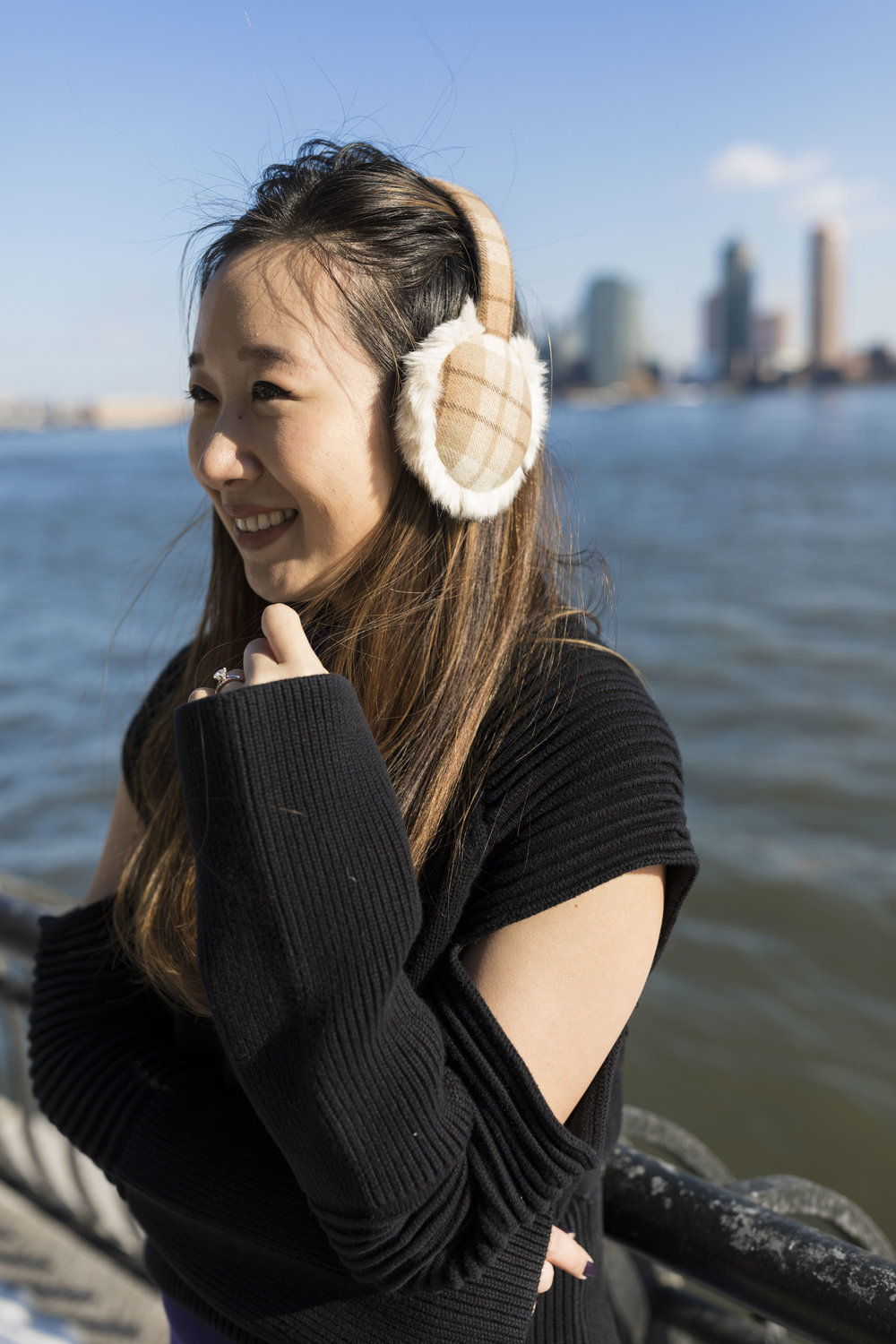 Wearing Moobuy's cashmere earmuffs in New York City; photo by  Ashley Gallerani .