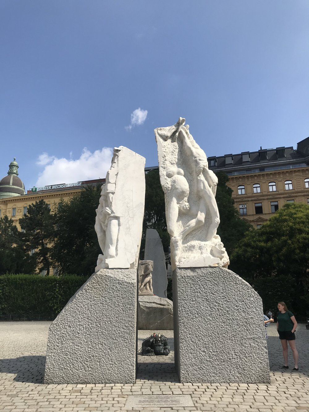 The Monument Against War and Fascism, which commemorates the dark years when Austria came under Nazi rule between 1938 and 1945, was near the free tour's meeting point at the Albertinaplatz
