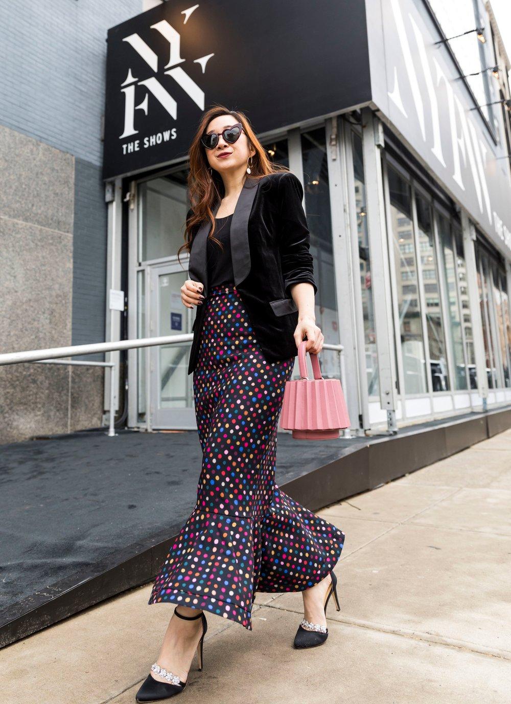 It was so much fun styling my Saloni polka dot skirt. Photo by Ashley Gallerani.