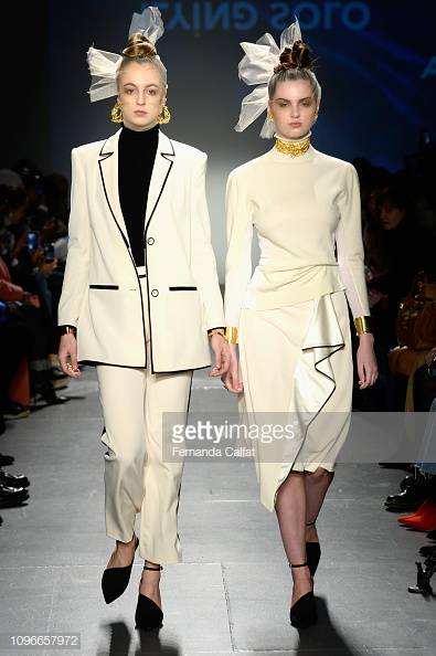 The white set on the left is my favorite from the Fall '19 Collection showcased at Pier59 Studios by Donna Zhong. Image: Getty.
