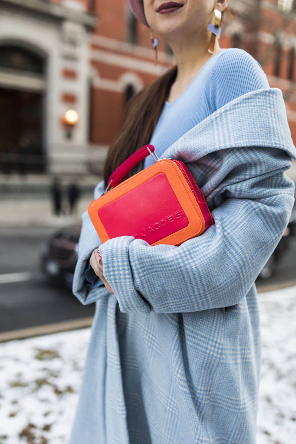 The neon pink and orange Marc Jacobs box bag. Photos by Ashley Gallerani.