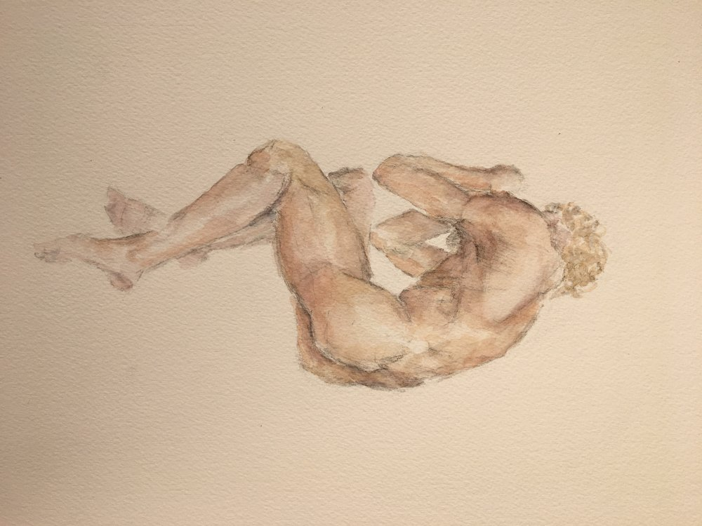 2hr Figure Painting of Male Curled, Watercolor on Paper, 2016