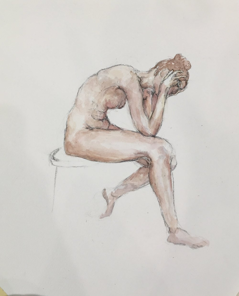 2hr Figure Painting of Female, Watercolor on Paper, 2016