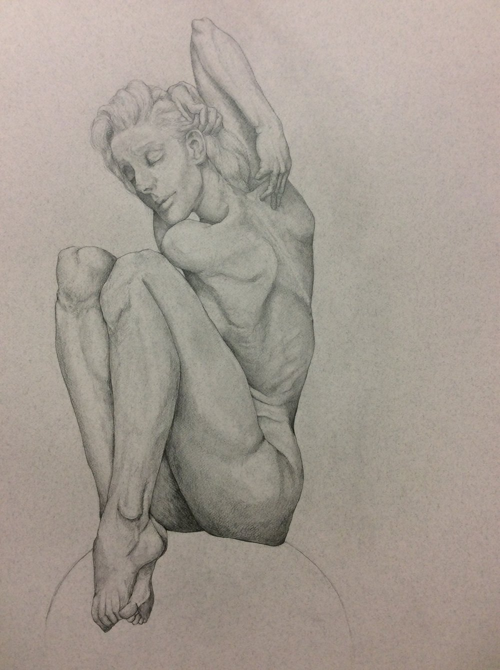 "6hr Figure Drawing of Female Angel Balance, Pencil on Paper, 50x65"", 2016"