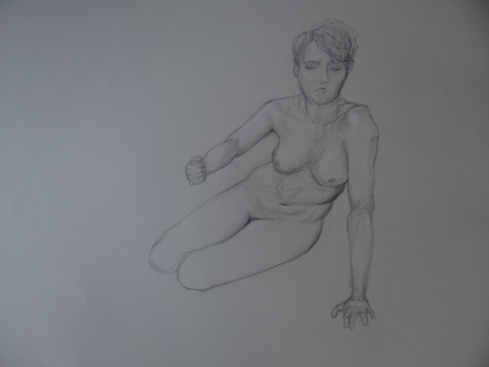 "2hr Figure Drawing of Female Reach, Pencil on Paper, 50x65"", 2016"
