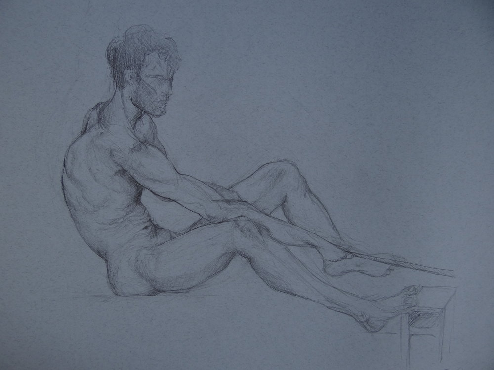 "2hr Figure Drawing of Male, Pencil on Paper, 50x65"", 2016"