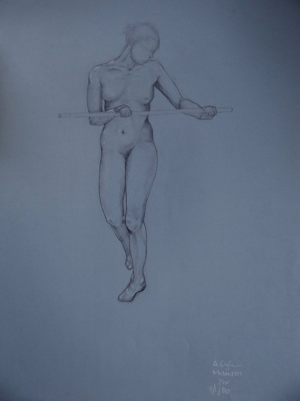 "2hr Figure Drawing Female Balancing, Pencil on Paper, 50x65"", 2016"