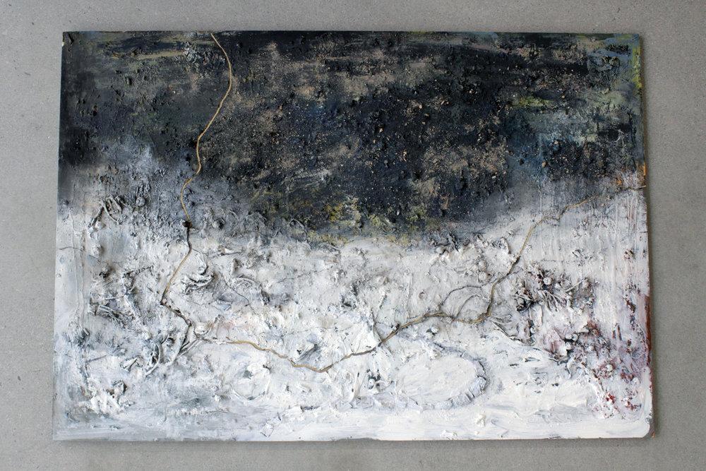 "Tornadoland,  Acrylic, Wood, Ash, and Alabama Dirt on board. 50x34"", 2016"