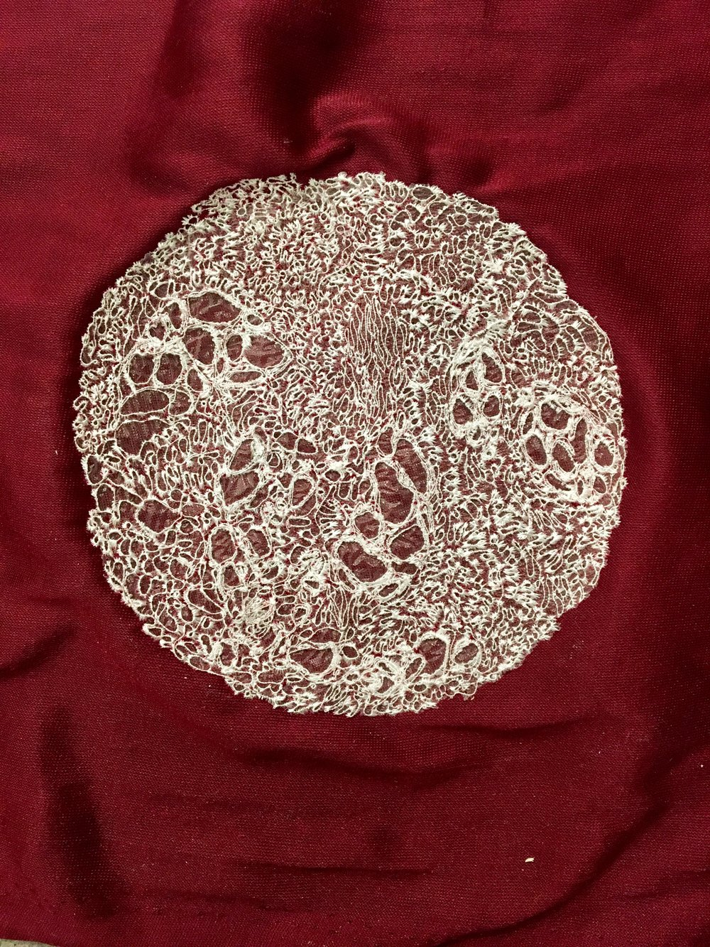 Cancer Cells Machine Embroidery on Velvet (reverse side), 2018