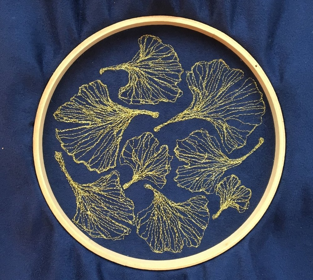 Gingko Leaves Machine Embroidery, 2018