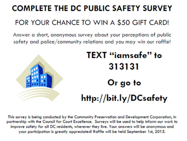 Complete the DC Public Safety Survey! Chance to win a $50 gift card