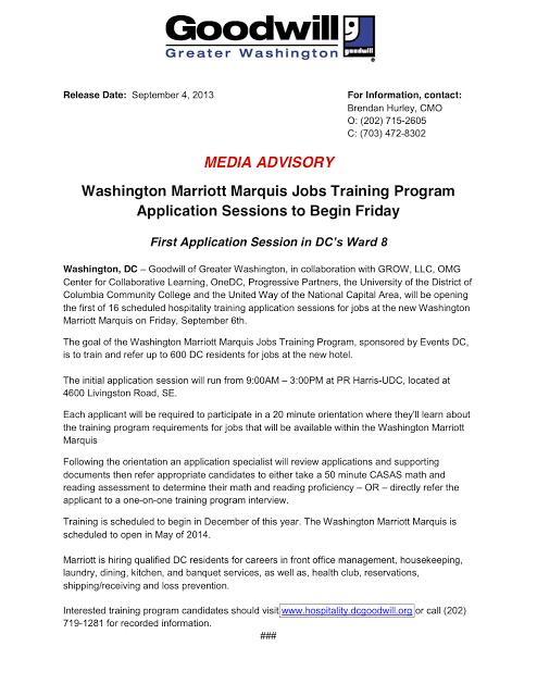Sept 6 | Ward 8 application session for hospitality job
