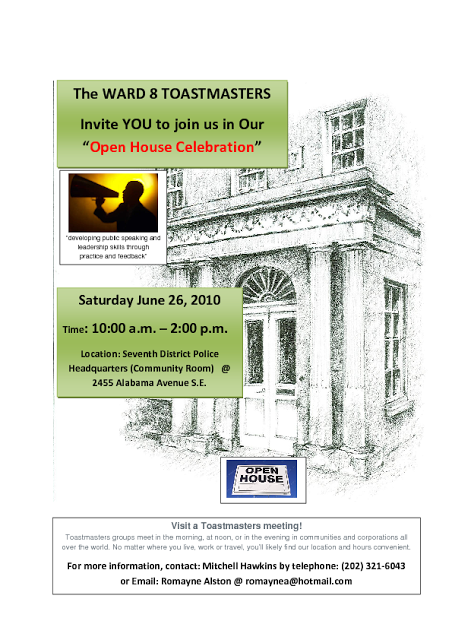 Sat, June 26: WARD 8 TOASTMASTERS OPEN HOUSE — Congress Heights on