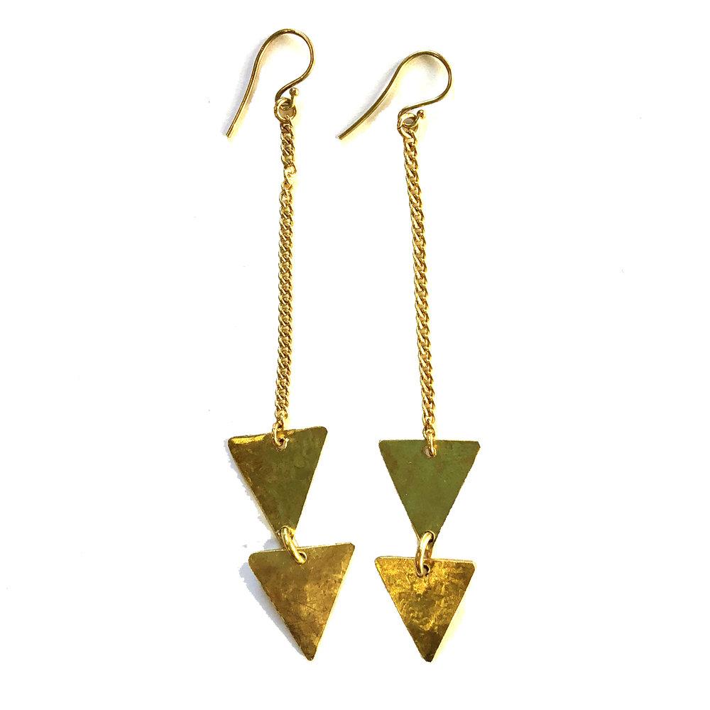 Brass Triangle Teardrop Earrings | $32
