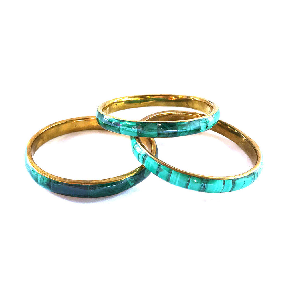 Malachite + Recycled Brass Bangle | $19
