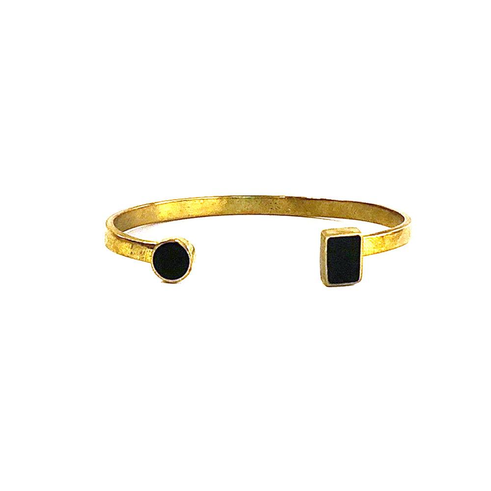 Brass Circle + Square Black Horn Cuff | $52